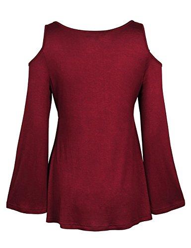 ISASSY -  Maglia a manica lunga  - Attillata  - Classico  - Maniche lunghe  - Donna rosso vino