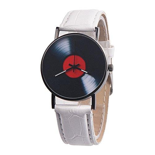 Patifia Unisex Uhren Lederarmband, Art und Weise beiläufige Unisexrote Entwurfs Band analoge Legierungs Quarz Uhr Schallplatte Einfache Design Männliche und weibliche Uhren