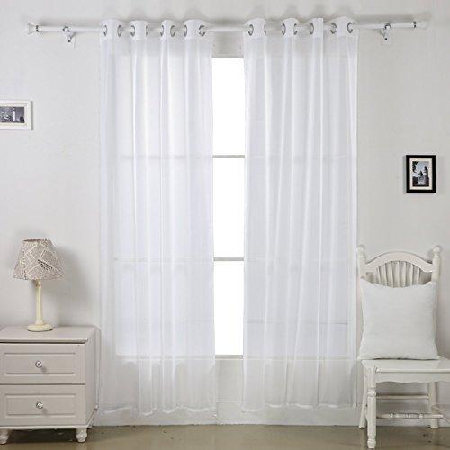 Deconovo Tentaggio Con Occhielli In Voile Un Paio Per Casa E Cucina 140 X 240 CM Bianco Articoli Da Toilette - 1 Segno In Bianco