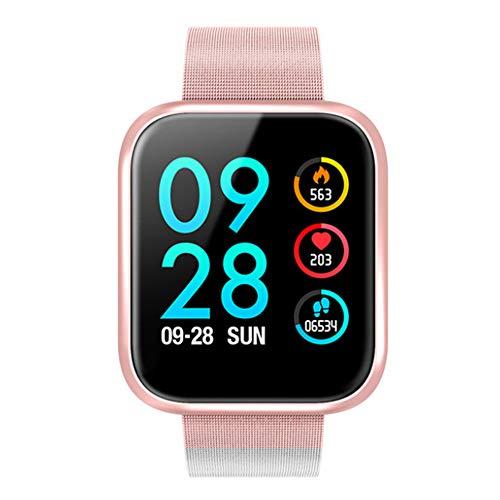 Linbing123 Tragbare intelligenter Armband, Art und Weise rosafarbenen Golduhr Herzfrequenzmonitor, Blutdruck Armband wasserdichte Bluetooth Fitness Tracker anwendbar,Rosa