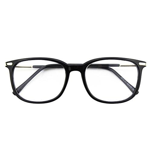 CGID CN79 Klassische Nerdbrille ellipse 40er 50er Jahre Pantobrille Vintage Look clear lens, Glossy Schwarz, 52