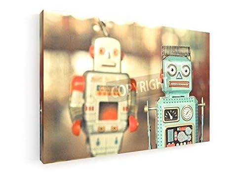 Alte klassische Roboter Spielzeug - 45x30 cm - Leinwandbild auf Keilrahmen - Wand-Bild - Kunst, Gemälde, Foto, Bild auf Leinwand - Künstler