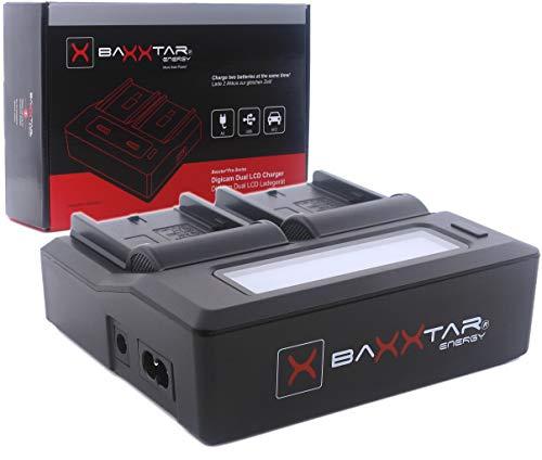 Baxxtar PRO - LCD Dual Ladegerät - kompatibel für alle Akkus der Sony NP-F Serie - NP-F550 NP-F750 NP-F970 NP-FM500H usw (Dual Akku-ladegerät Sony)