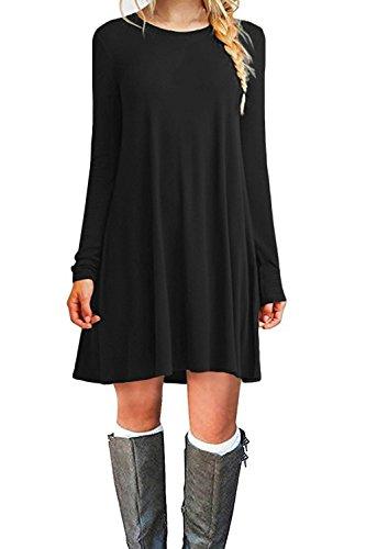 WIWIQS Damen Casual-Schwingen T-Shirt-Kleid Langarm-Loser Tank Top Plus Size Kleid X-Groß Schwarz