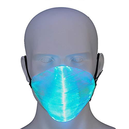 isex Leucht Faseroptische Maske USB wiederaufladbar Für Herren Damen Weihnachten Halloween Party (Sieben Farbeinstellungen) ()