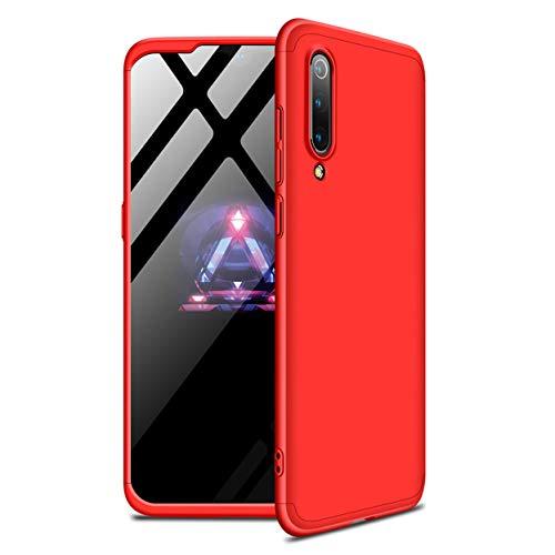 Funda Xiaomi Mi 9 SE 360°Caja Caso + Vidrio Templado Laixin 3 in 1 Carcasa Todo Incluido Anti-Scratch Protectora de teléfono Case Cover para Xiaomi Mi 9 SE (Rojo)