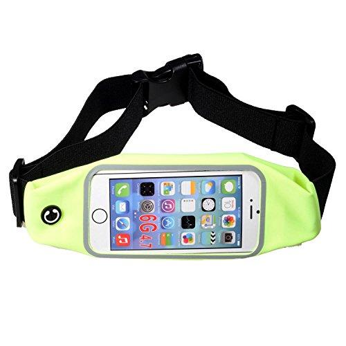 BAIDATONG Bauchtasche / Gürteltasche zum Verstauen des Smartphones beim Laufen / Joggen, universelle Größe, für iPhone 6, 6s, 6Plus, 6sPlus, Samsung Galaxy S5, S6, S7, Note 4, 5, LG G2, G3, G4 mit wasserdichter Hülle von OtterBox / LifeProof, Green Sports pockets 4.7in