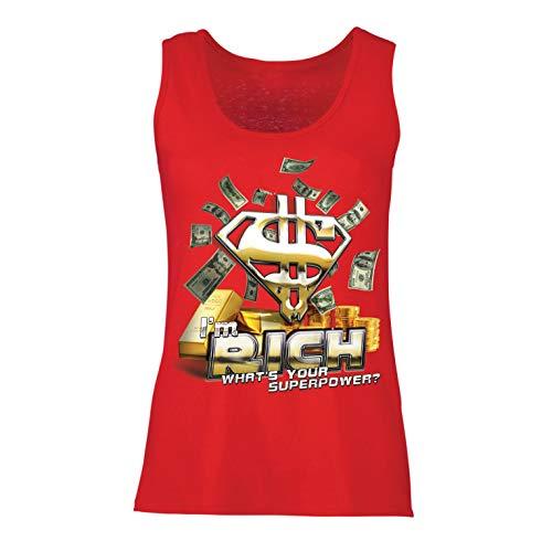 Top Ich Bin reich was ist Deine Supermacht, USD Superheld (Large Rot Mehrfarben) ()