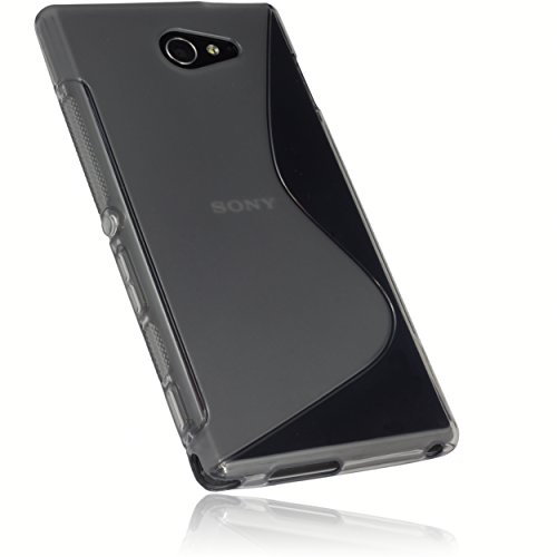 mumbi S-TPU Schutzhülle Sony Xperia M2 / M2 Aqua Hülle transparent schwarz
