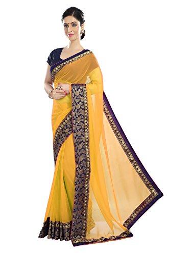 Fragrance Trendz Sparkle Lace Borderd Chiffon Saree With Sparkle Blouse Piece. (Yellow...