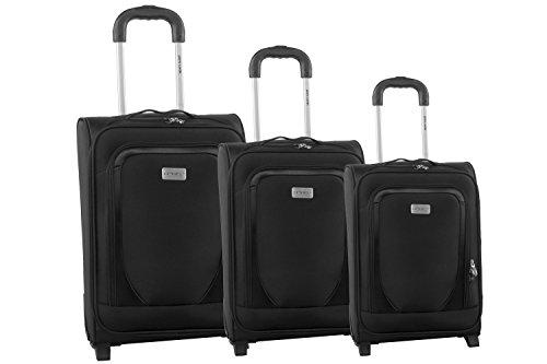 3 Maletas semirrígidas PIERRE CARDIN negro cabina para viajes S243