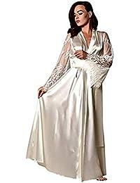 83341fbc7c SUCES Damen Nachthemd Satin Spitze Unterwäsche Frauen Lange Pyjama Sexy  Lange Ärmel Bademantel Klassisch Negligee