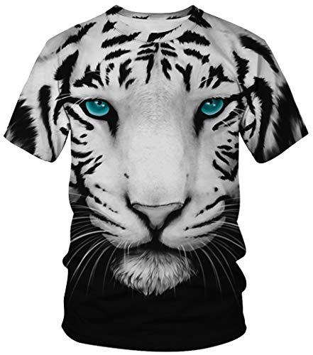 Ocean Plus Unisex Rundhals Sportswear T-Shirt Kostüm mit Aufdruck Fasching Größen S-3XL Tops mit Kurzarm (M (Referenzhöhe: 160-165 cm), Blauäugiger weißer Tiger)