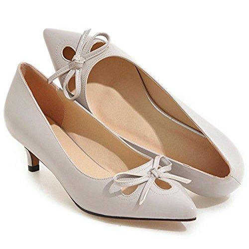Pumps Damen Taoffen Mode Kitten Schuhe Mdchen Heel Grau Verschluss Toe Pointed Ohne RUOO6Yn