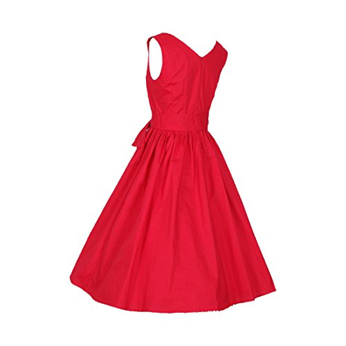 partiss Femme Hepburn Rétro Années 50robe avec ceinture sans bulle Rouge