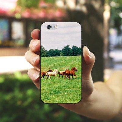 Apple iPhone 5s Housse Étui Protection Coque Chevaux sauvages Mustang Cheval jument horse Housse en silicone noir / blanc