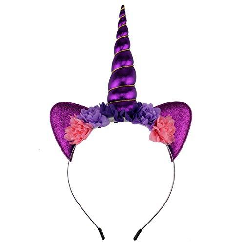 TOUSHIUHUS Regenbogen Einhorn Stirnband Für Mädchen Glitter Gepolsterte Einhorn Horn Haarband Kinder Geburtstag Party Frauen DIY Haarschmuck 14 - Glitter Nike Frauen