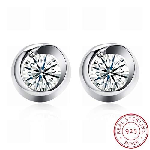 W-E Mode-Trend Ohrringe Frau Kleine Frische Ohrringe/Edelstahl/Anti-Allergie/Silber Blinkt/Diamanten/White Crystal/Klein und Exquisit, Bildfarbe -