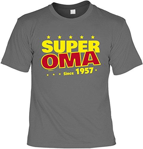 T-Shirt zum 60. Geburtstag Super Oma Since 1957 Geschenk zum 60 Geburtstag 60 Jahre Geburtstagsgeschenk 60-jähriger Anthrazit