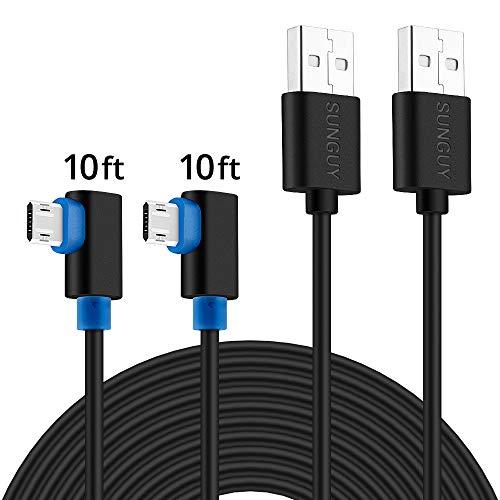 Micro-USB-Kabel 90 Grad,SUNGUY [Pack 2] 3M/10FT Reversible Micro-USB-Kabel Rechte Winkel für Samsung Galaxy S6 S7,LG,Motorola,Nexus,Nokia,PS4,Xbox One-Controller und Mehr - Schwarz