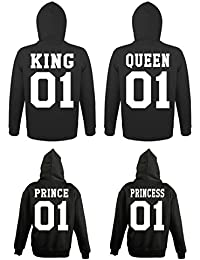 Youth Designz Kinder + Herren + Damen Sets Hoodie Kapuzenpullover Modell King & Queen, Prince & Princess/Für die Ganze Familie/in versch. Farben