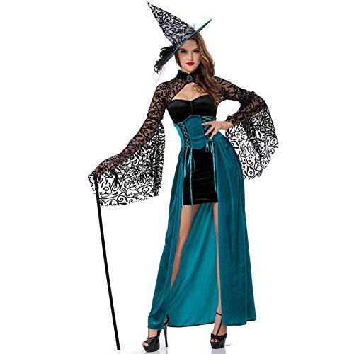 GLXQIJ Böse Deluxe Damen Smaragd Hexe Halloween Märchen Kostüm Mit Hut,Green,S (Smaragd Märchen Kostüm)