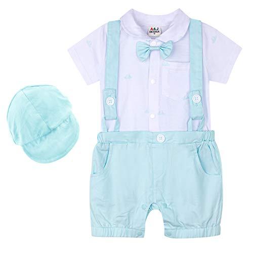 A & J DESIGN Baby Boy Hosenträgerhose Outfits Gentleman Romper Set mit Hut und Fliege (Hellblau, 12-18 Monate) - Säuglings-baby-formel