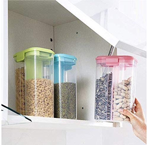 JD Storage Container for Kitchen 2 Sections Air Tight Transparent Food, Grain, Cereal Dispenser Storage Container Jar -2200ml,Storage containers,Masala Boxes for Kitchen,Masala containers (1)