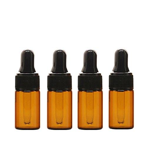 Botella de cristal colo ámbar con gotero de Furnido. Minibotellas recargables para aceites esenciales para aromaterapia o perfumes; viales tamaño de viaje, 15 unidades, 3 ml
