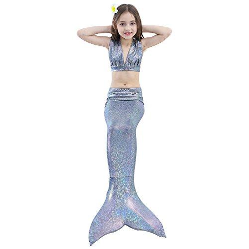 (Dongy Kinder 3pcs Meerjungfrau Schwanz Badeanzug, Prinzessin Bademode Bikini Set, Schwimmen Kostüm für 3-12 Jahre alte Mädchen (Farbe : Gray, Größe : 140))