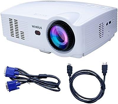 Proyector Mini,WIMIUS T4 Proyector LED 800*1280 hasta 1080P Multifuncional,AVVGAUSBSDHDMITV,Altavoces Incorporados,Compatible con ATV/PC/DVD/iPad/Smart Phone para Home Cinema(Cable Libre de HDMI)-Negro