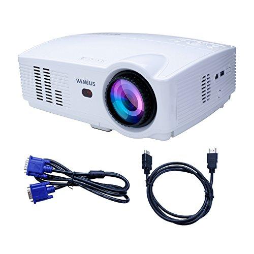 Proyector Mini 1080P,WIMIUS T4 Home Cine Video HD 3200 lúmenes con Interfaz de Entrada HDMI/YPbPr/AV/VGA/USB Multimedia Perfecto para Jugar Videojuegos y Ver Fútbol Películas en Casa-Blanco
