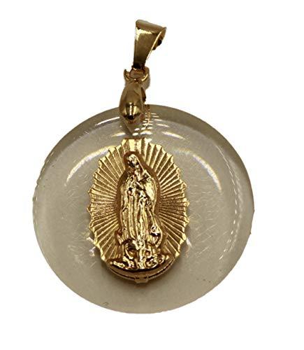 Diamantados of Florida Virgen de Guadalupe - Colgante con Medalla chapada en Oro de 18 Quilates y Cadena de 50 cm