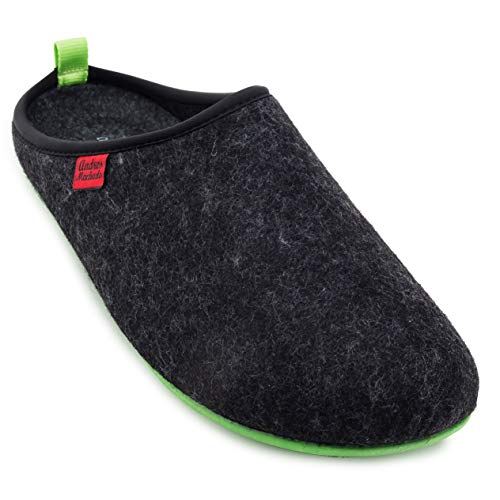 Andres Machado Unisex Home Slippers for Men and Women - Summer and Winter - Dynamic - Made of Wool and Felt - with Non-Slip Rubber Outsole and Removable Footbed - Size Range: UK 4 to 14