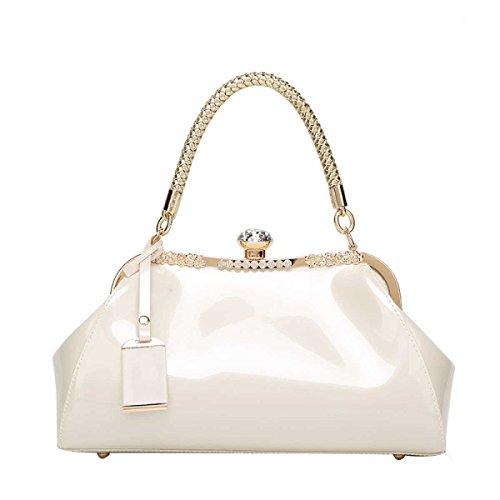 Frauen Umhängetasche Handtasche White Hochzeit Braut Lackleder Mode Diamanten rCaZnr5