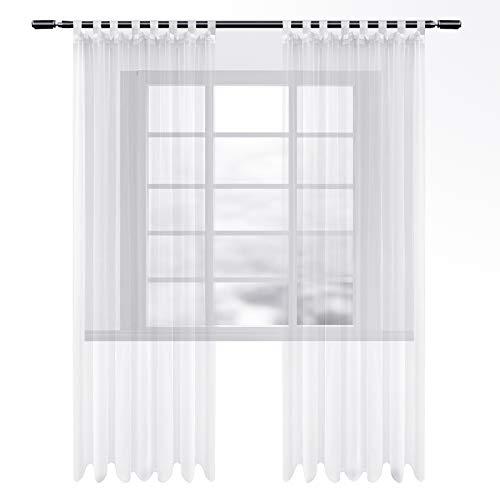 WOLTU VH5901ws-2, Gardinen transparent mit Schlaufen 2er Set, Stores Vorhang Schal Voile Tüll Wohnzimmer Schlafzimmer Landhaus, Weiss 135x245 cm