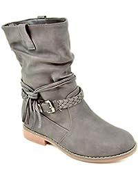 King Of Shoes Damen Stiefeletten Stiefel Schnalle Flache Schlupf Biker  Boots Blockabsatz BZ28 e3c8f724ea