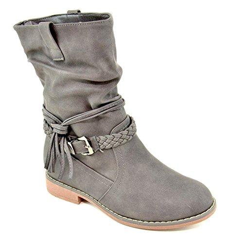 King Of Shoes Damen Stiefeletten Stiefel Schnalle Flache Schlupf Biker Boots Blockabsatz BZ28 (39, Grau)