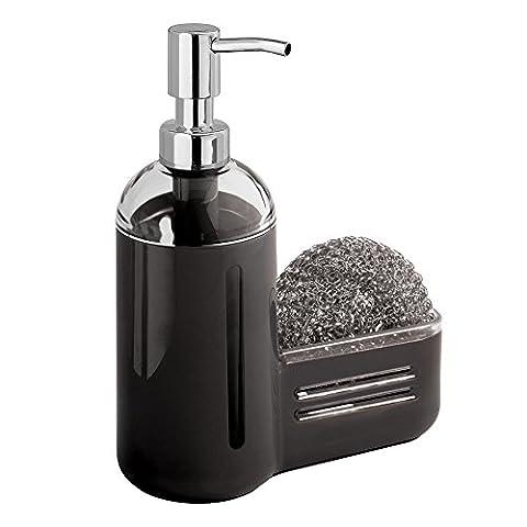 Distributeur de savon à pompe avec porte-éponge, mDesign Kitchen - Noir