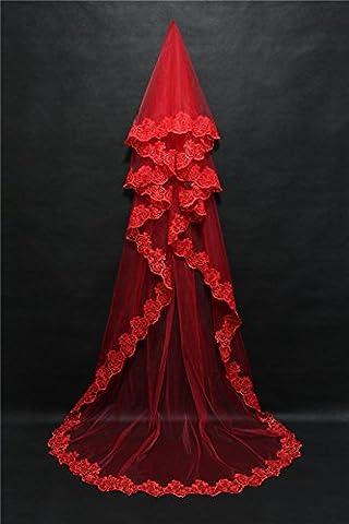 HY-FHLJ Hochzeit Schleier 3 Meter Europa und die Vereinigten Staaten Mode Damen rot weiß optional Braut Schleier lange verankerte rote Spitze Schleier , red