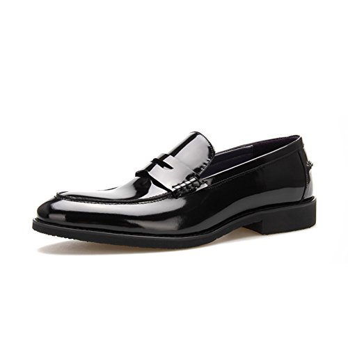 Scarpe Da Uomo Per Il Tempo Libero In Pelle Tendine Vestito Primavera E Autunno Business Wedding Slip On Marrone-nero In Pelle Stampa Nero