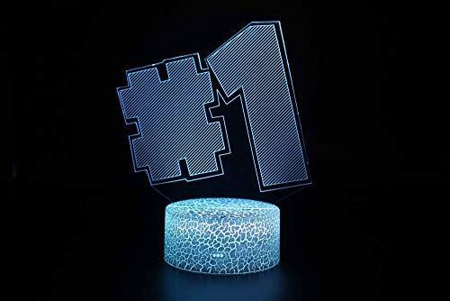 3D Lampe LED Licht 3D Illusion Lampe Nachtlicht Dekoratives 7 Farben Schalter von Smart Touch Button&Remote&USB-Kabel Kreative Dekorationen # 1 für Kinder Baby Boy Geburtstag Weihnachtsgeschenk