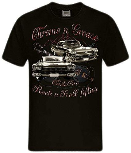 shirtmatic-chrome-grease-motor-rock-guitars-hot-rod-rock-n-roll-rockabilly-t-shirt-xl-cadillac-black