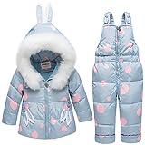 SANMIO Baby Mädchen Daunenjacke Schneeanzug mit Kaputze Bekleidungsset Verdickte Winterjacke + Winterhose Kleinkind Daunenhose Kinderskianzug