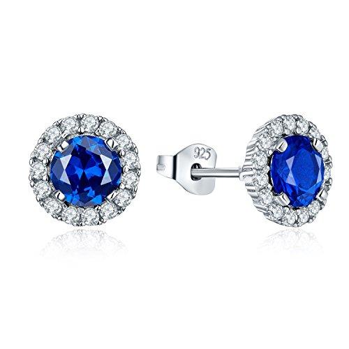 JO WISDOM ohrstecker blau Saphir silber 925 Damen Runde Ohrringe mit AAA zirkonia September Geburtsstein