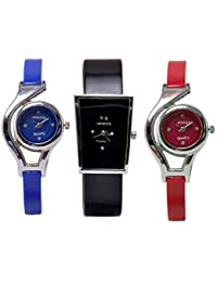 Freny Exim New Fashion Adda Sober Combo Set Of 3 Blue And Red Round Dial With Black Square Dial Analog Women Wrist...