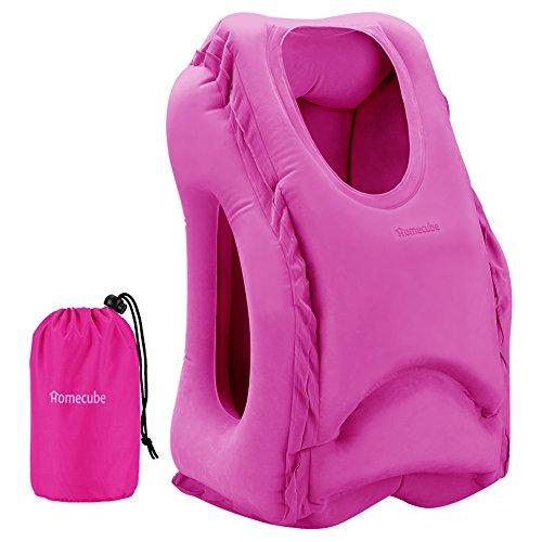 Almohada de Viaje HOMECUBE, Almohadón Inflable Portátil,Suave PVC y Flocado para Siesta en Oficina,Avión,Tren o Coche (Rosa)