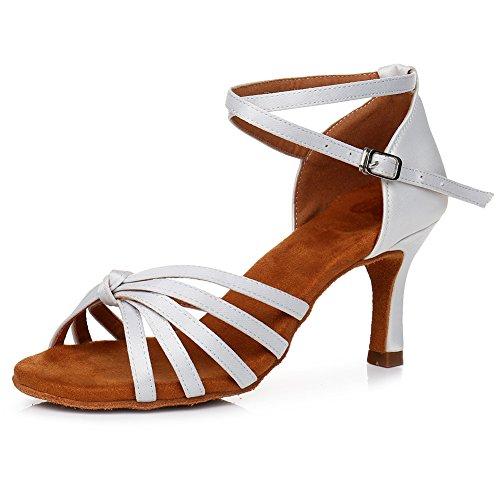 Xiaoy donna scarpe da ballo ballroom latino metallo fibbia banchetto in pelle scamosciata,whitedanceshoe,39