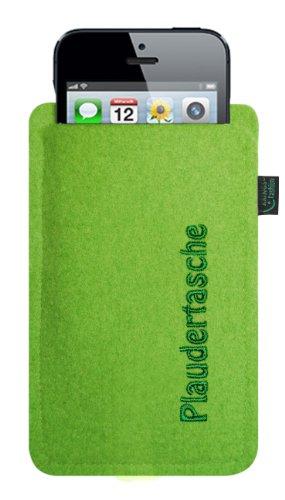 Filztasche für iPhone SE und iPhone 5/S, Plaudertasche hellgrau, hochwertig bestickt, 100 % Wollfilz Filzfarbe lime