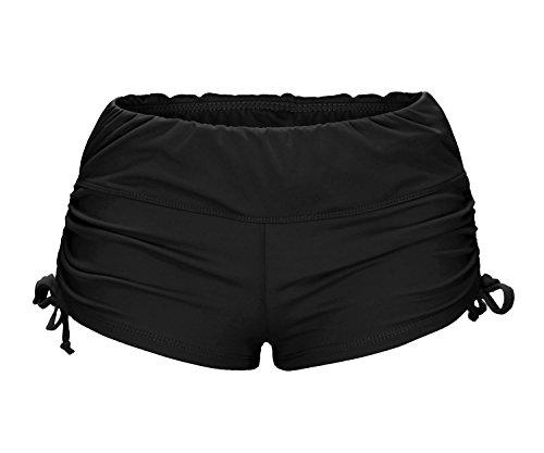 ReliBeauty Damen Verstellbare Kordel BŠnde Elastische Taille Boyshorts Falten Badeshorts, Schwarz, XL (Bikini Mit Boyshorts)